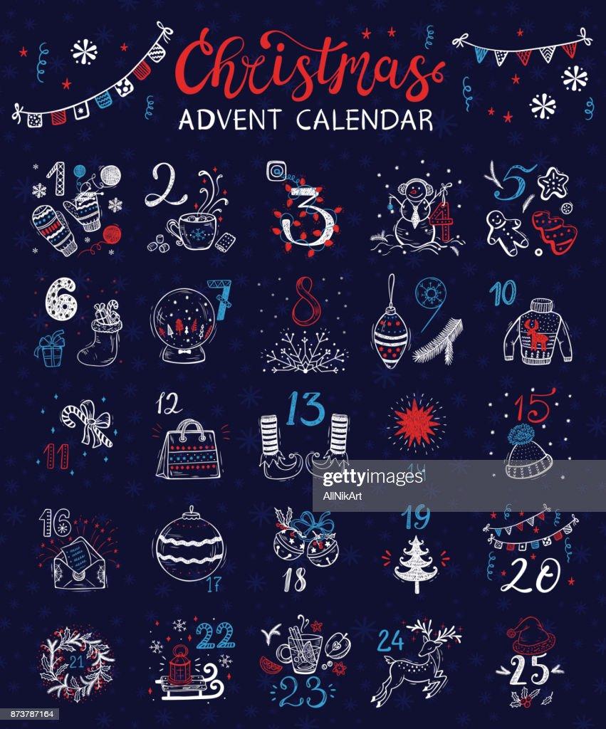 Christmas Advent Calendar. Vector Winter Holidays poster
