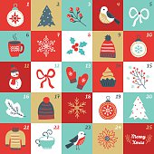 Christmas Advent Calendar with bird, branches, Christmas balls, bow, mittens
