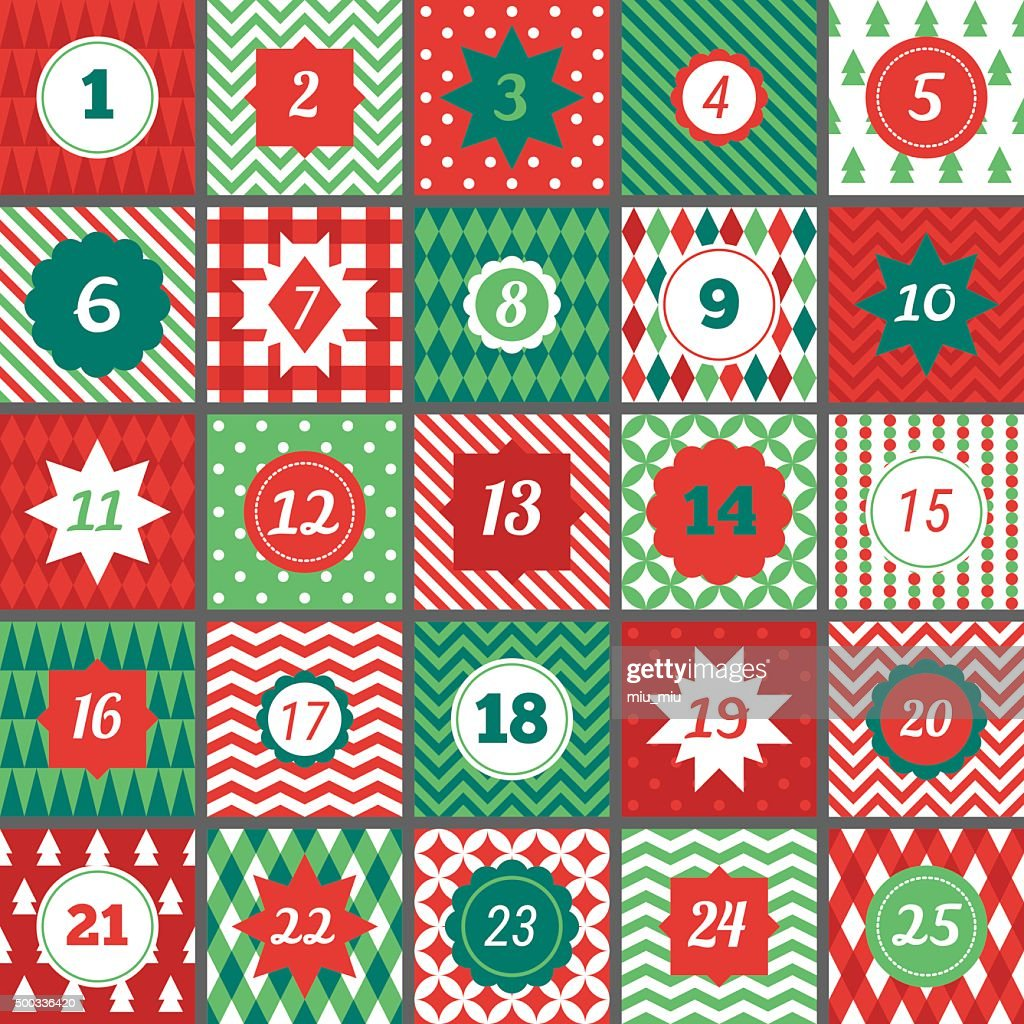 Christmas advent calendar with Chevron, Polka dot, Gingham, Argyle, Harlequin