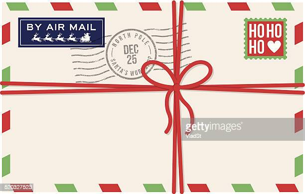 christmas air mail letter from santa - message stock illustrations