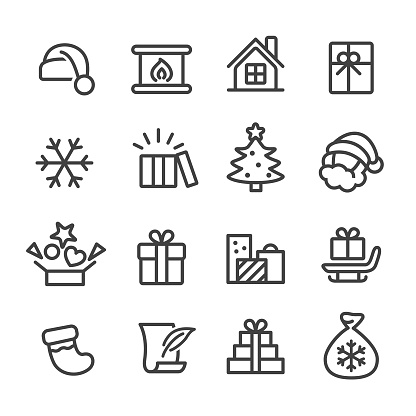 Christmas and Gifts Icons - Line Series - gettyimageskorea