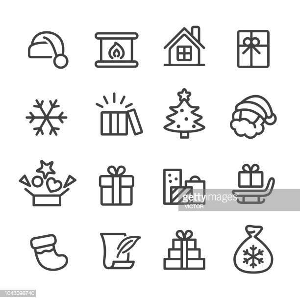 ilustraciones, imágenes clip art, dibujos animados e iconos de stock de navidad y regalos iconos - serie - caja de regalo
