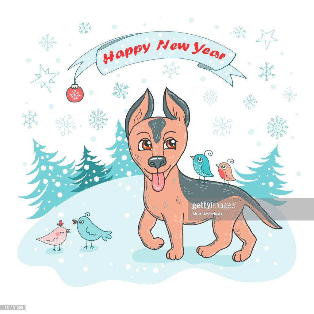 Weihnachten Und Frohes Neues Jahrkarte Mit Niedlichen Hunderasse ...