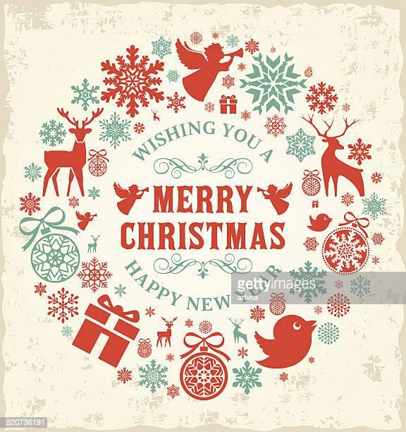 ハッピークリスマスと新年のコンセプト - リース点のイラスト素材/クリップアート素材/マンガ素材/アイコン素材
