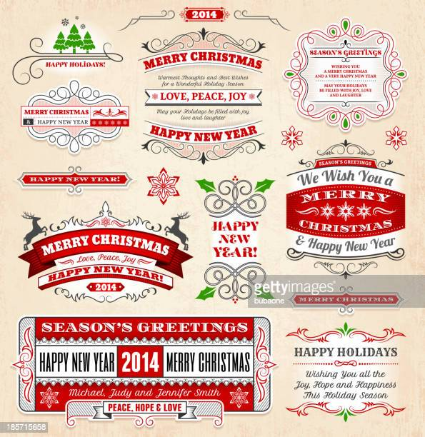 christmas and holiday banners & badges set - plant attribute stock illustrations, clip art, cartoons, & icons