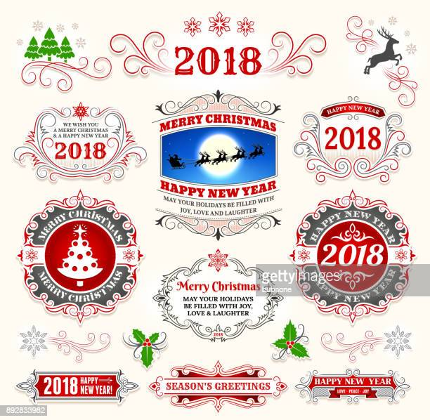 christmas and holiday banners & badges set - mistletoe stock illustrations, clip art, cartoons, & icons