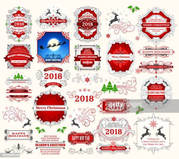 Christmas and Holiday Banners & Badges Set
