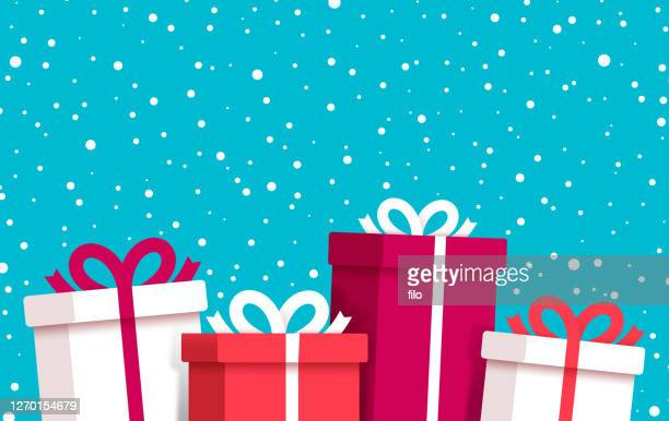 christmas and holiday gifts snow winter background - gifts stock illustrations