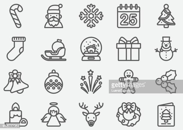 christmas and holiday line icons - dental floss stock illustrations