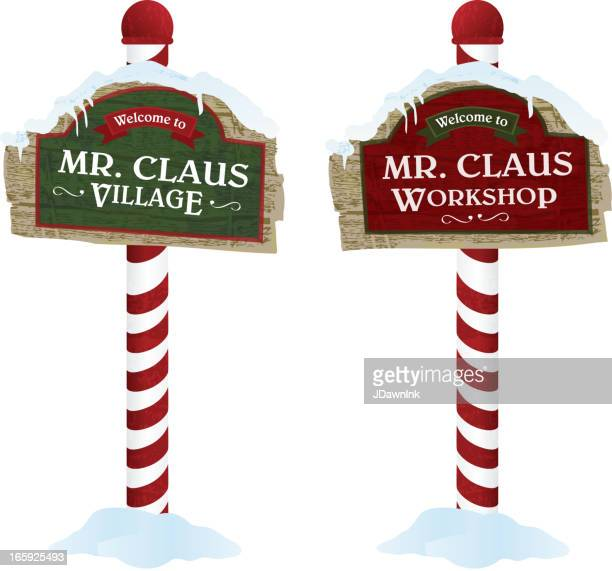 Christmas and Holiday wooden workshop village signs