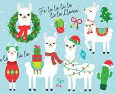 Christmas and Holidays Llama and Alpaca Vector Illustration