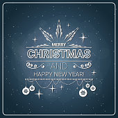 Christmas And New Year 2018 Stamp Vintage Style ver Chalkboard Background Holiday Icon Design