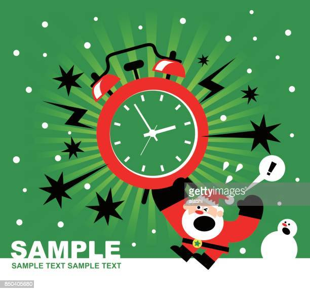 christmas and new year are coming, santa claus, snowman and huge alarm clock ringing, radial rays (stripes) background - glühend stock illustrations