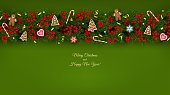 Christmas and New Year banner of realistic branches of Christmas tree, holly berries, christmas cookies