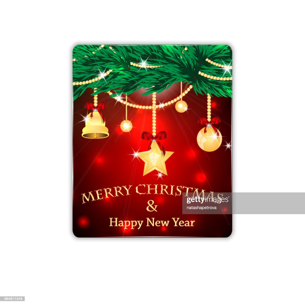 Christmas and New Year banner with Christmas tree and Christmas decorations