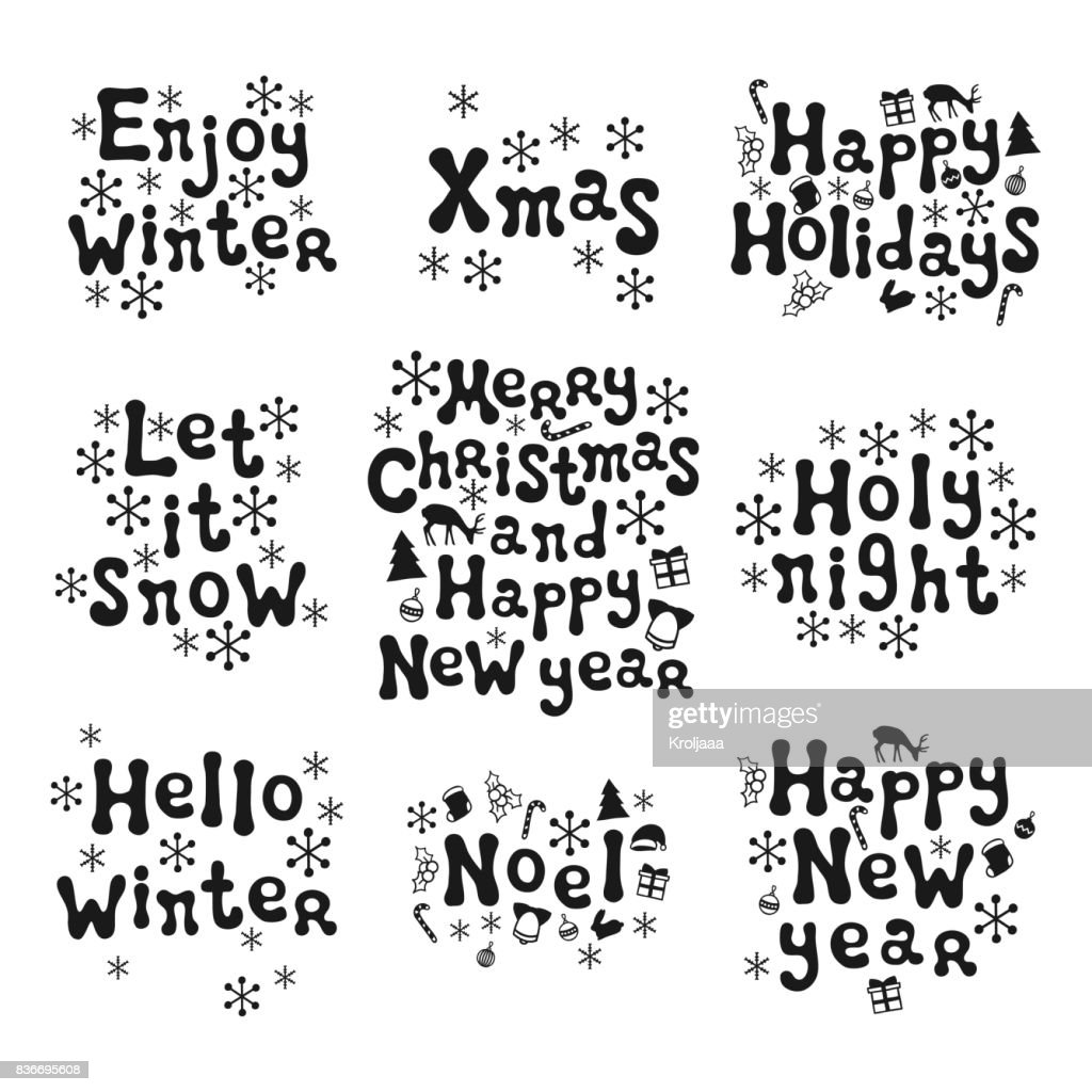 Christmas And New Year Calligraphy Phrases Set Handwritten Brush ...