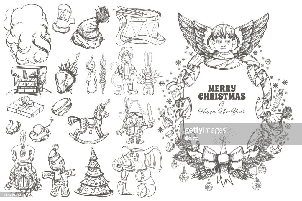 Christmas and New Year decorative design elements.
