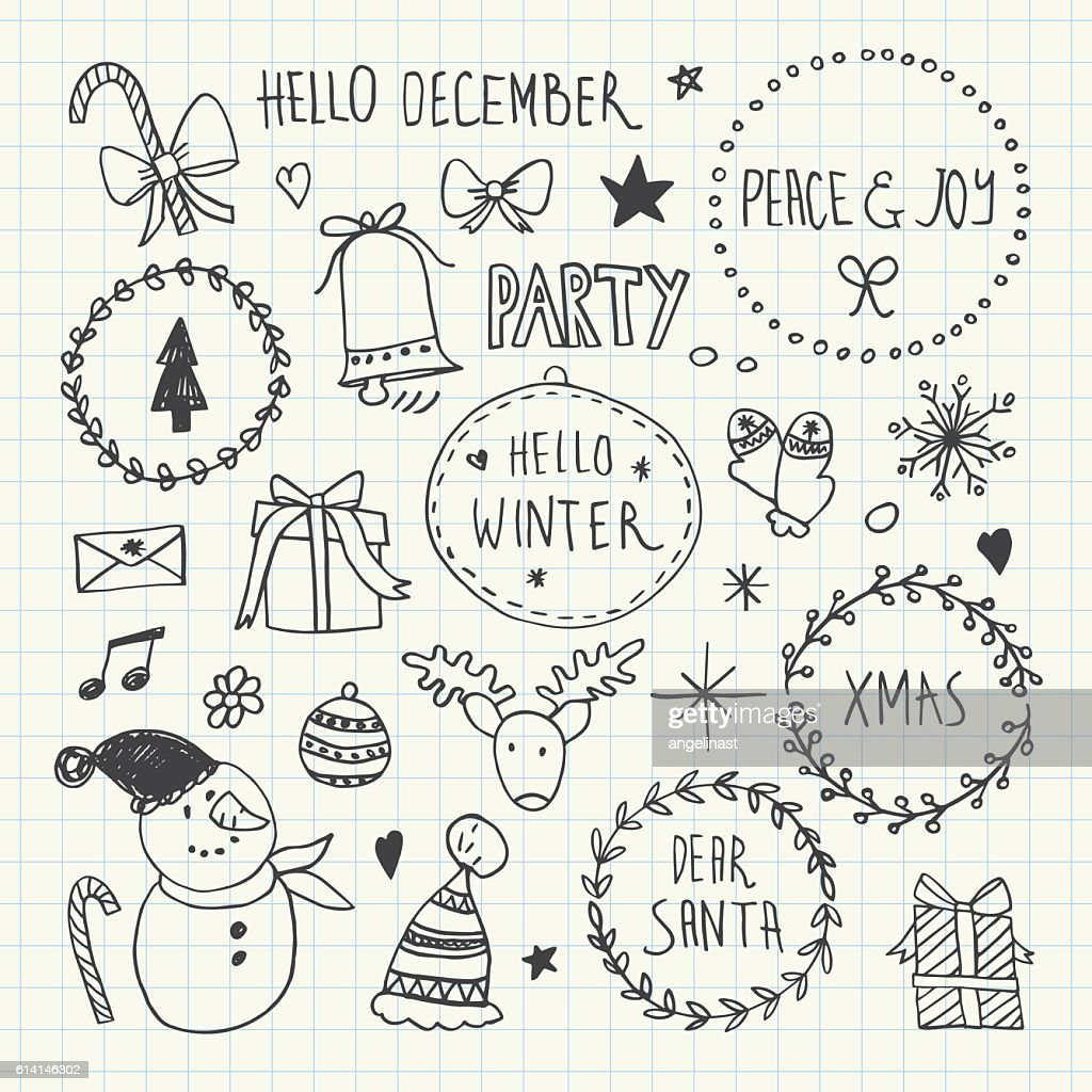Christmas and New Year Doodles set