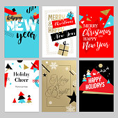 Christmas and New Year flat design greeting cards set.