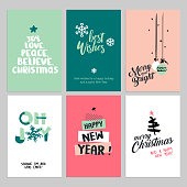 Christmas and New Year flat design greeting cards set