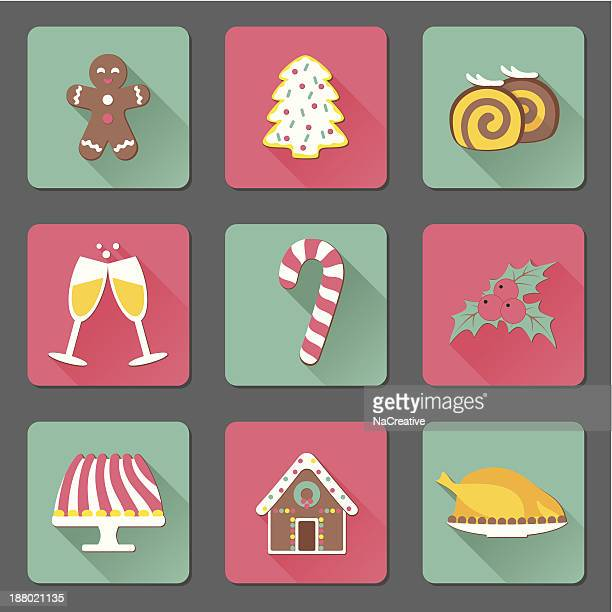 christmas and new year food flat icons set - gingerbread house stock illustrations, clip art, cartoons, & icons