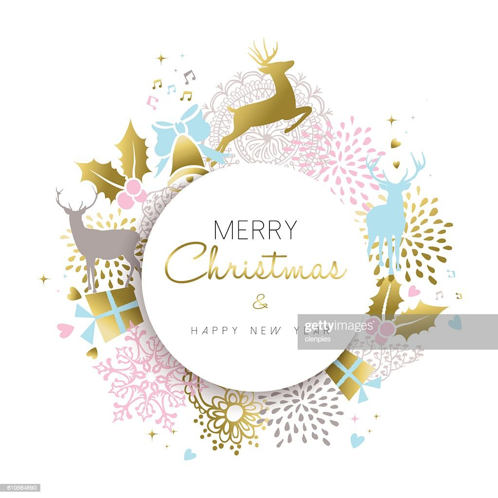 Christmas and new year gold deer decoration design