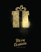 Christmas and new year gold glitter gift box card