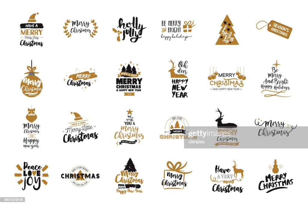 Christmas and new year gold typography quote set
