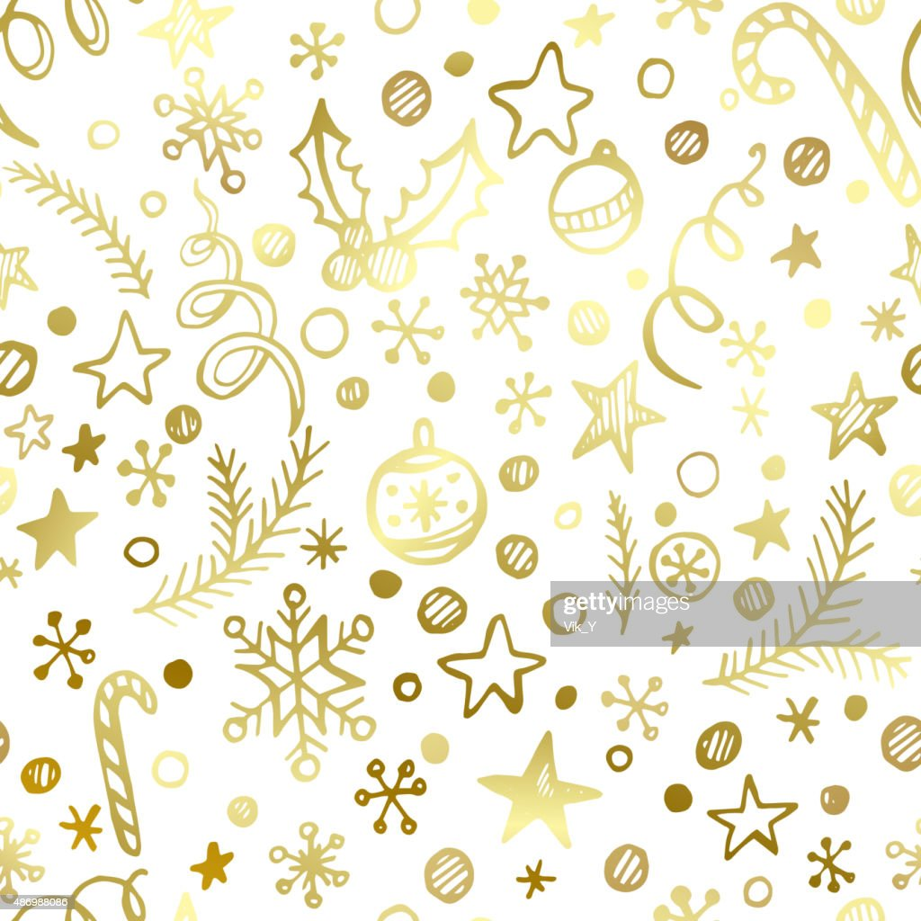 Christmas and New Year golden seamless pattern