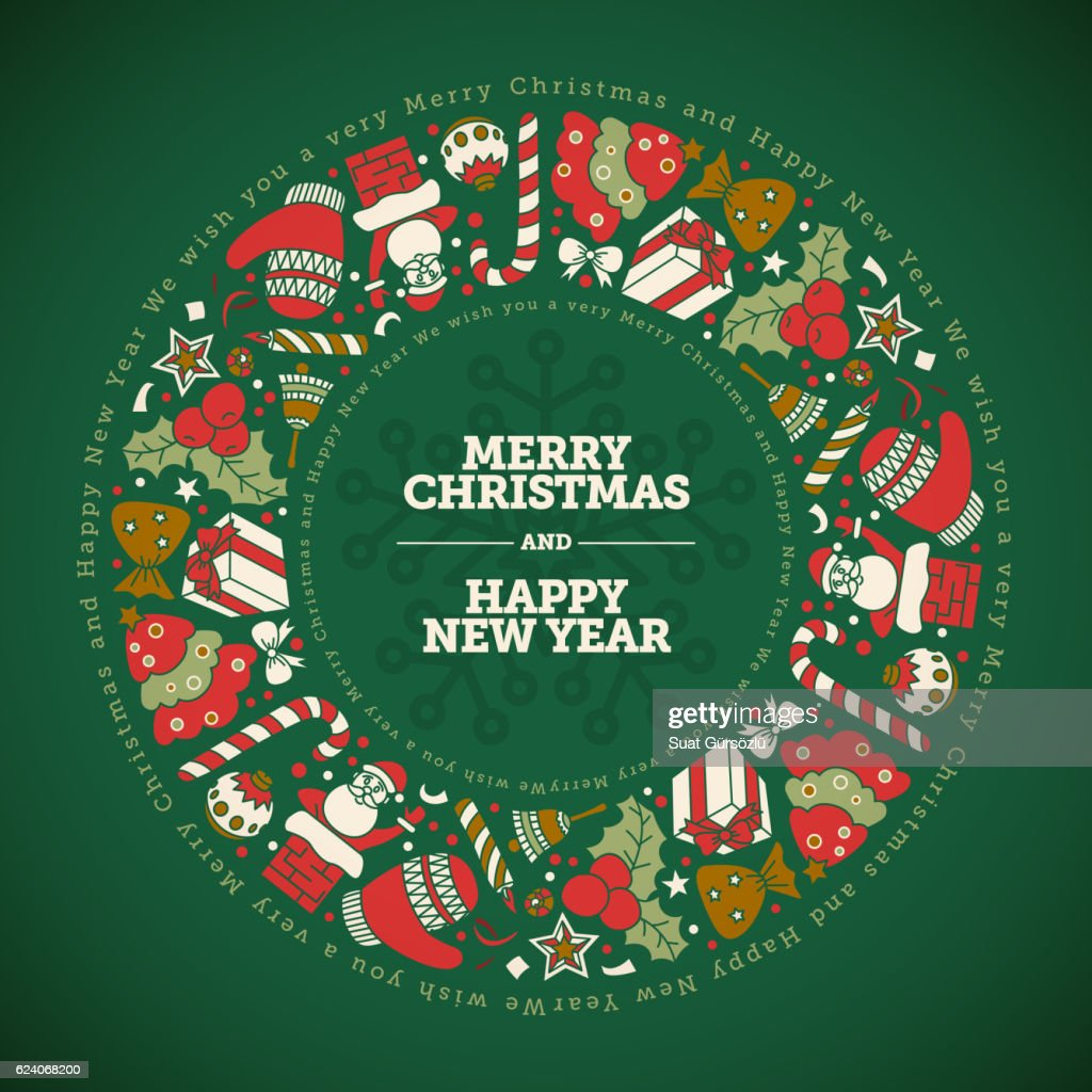 Christmas And New Year Greeting Card Design Template Vector Art