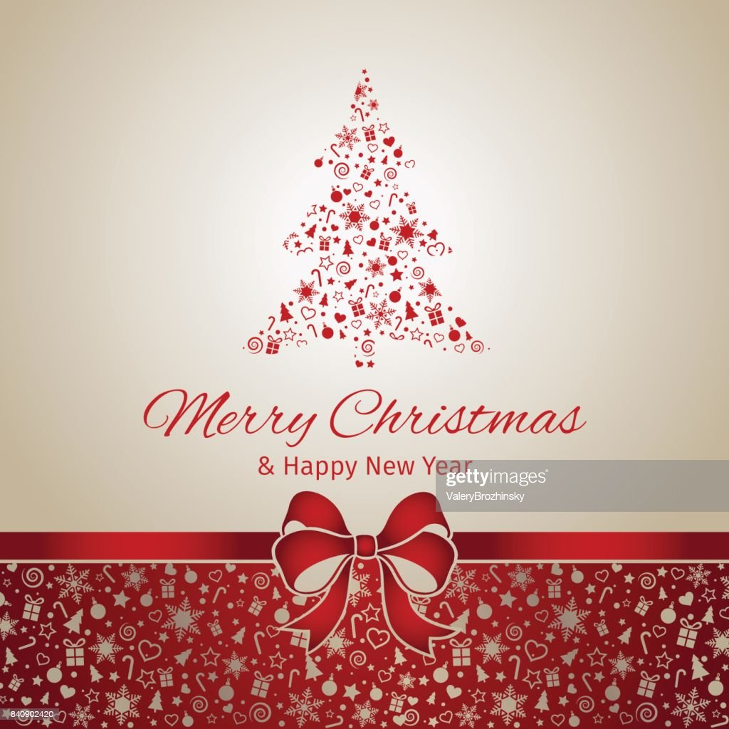 Christmas And New Year Greeting Card Red Ribbon Vector Illustration
