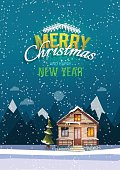 Christmas and New Year greeting card. Sweet family home among