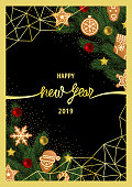 Christmas and New Year Greeting Card with Geometric Frame