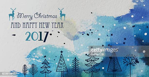 christmas and new year greeting card with hand drawn elements - lebewesen stock-grafiken, -clipart, -cartoons und -symbole