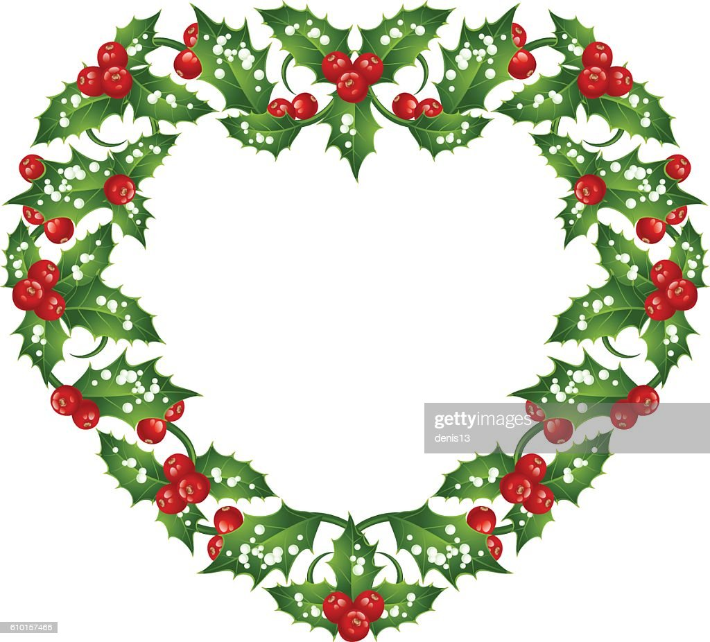 Christmas And New Year Holly Heart Frame Vektorgrafik | Getty Images
