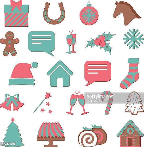 christmas and new year icon set - gingerbread house stock illustrations, clip art, cartoons, & icons