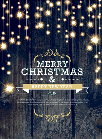 Christmas and New Year invitation design woodgrain with string lights - gettyimageskorea