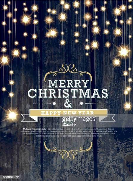 christmas and new year invitation design woodgrain with string lights - illuminated stock illustrations