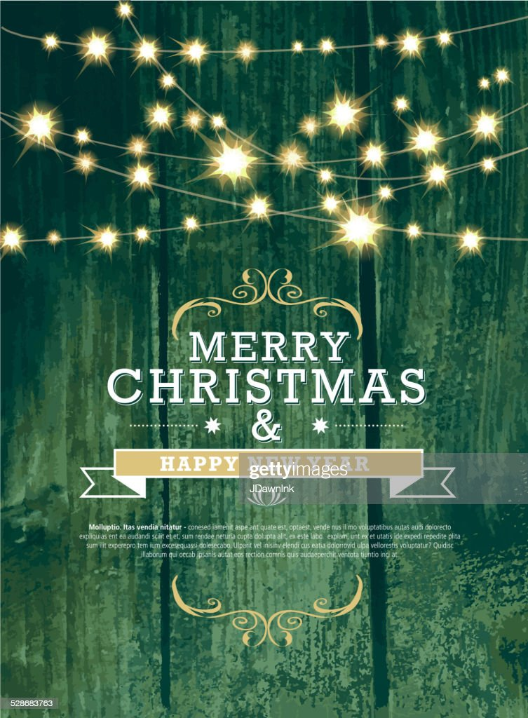 christmas and new year invitation green woodgrain with string lights vector art