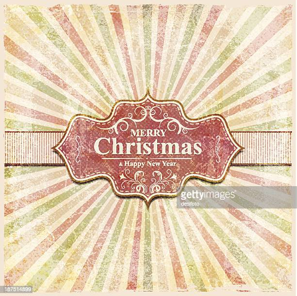 Christmas and New Year Label with grunge background
