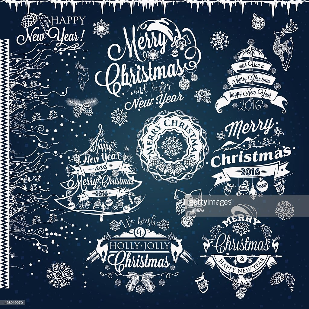 Christmas and New year labels and borders