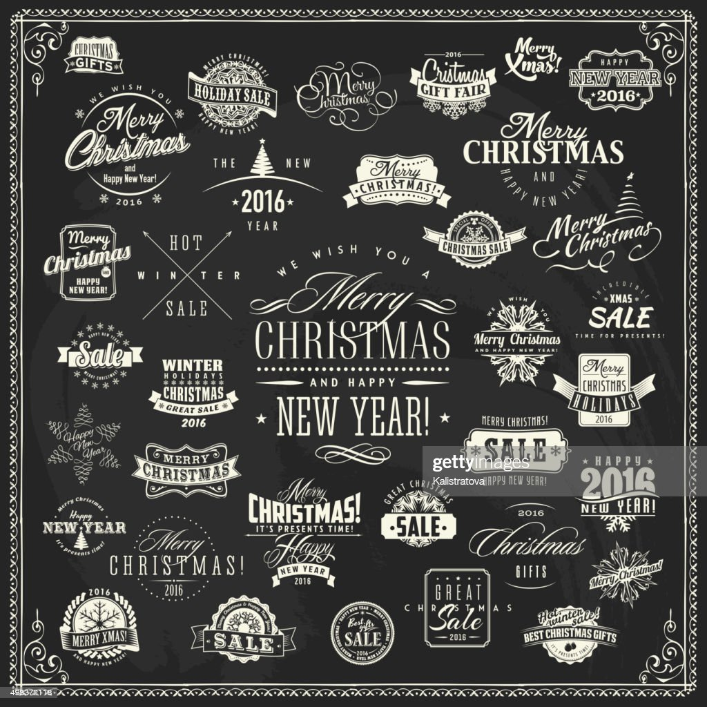 Christmas and New Year labels