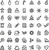 Christmas and New Year line vector icons. Xmas winter outline symbols set