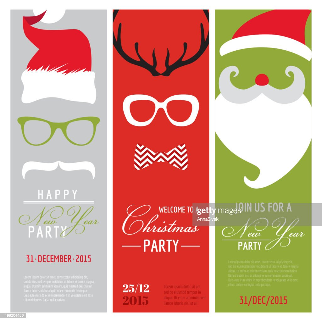 Christmas and New Year Retro Party Cards - Photo booth