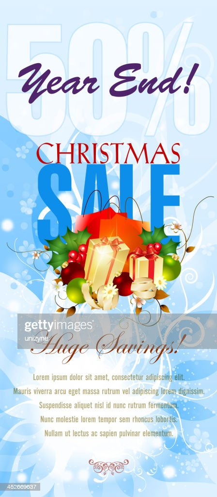 christmas and new year sales vertical banner vector art