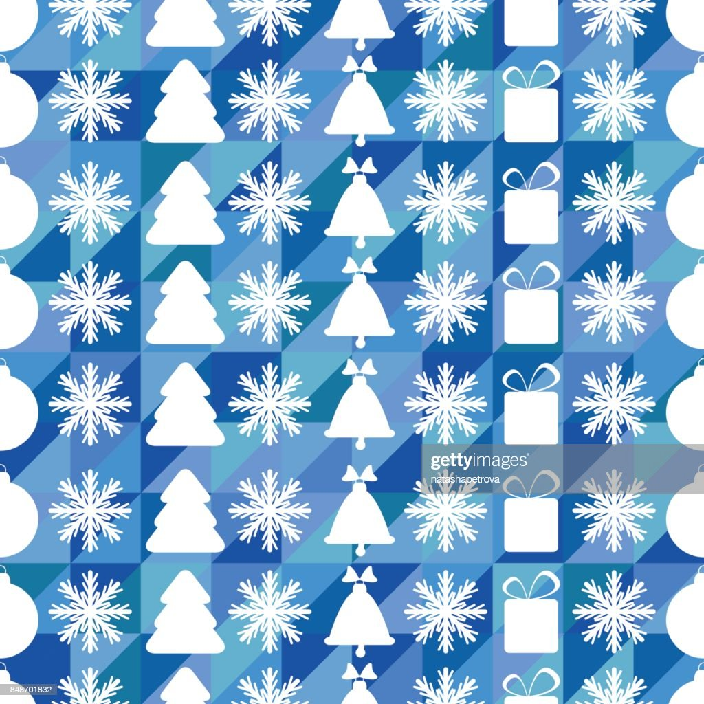 Christmas and New Year seamless pattern with snowflakes, Christmas trees and Christmas toys