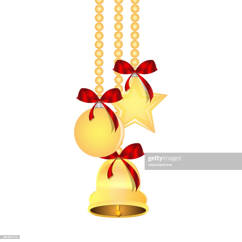 Christmas and New Year tree decorations isolated on a white background