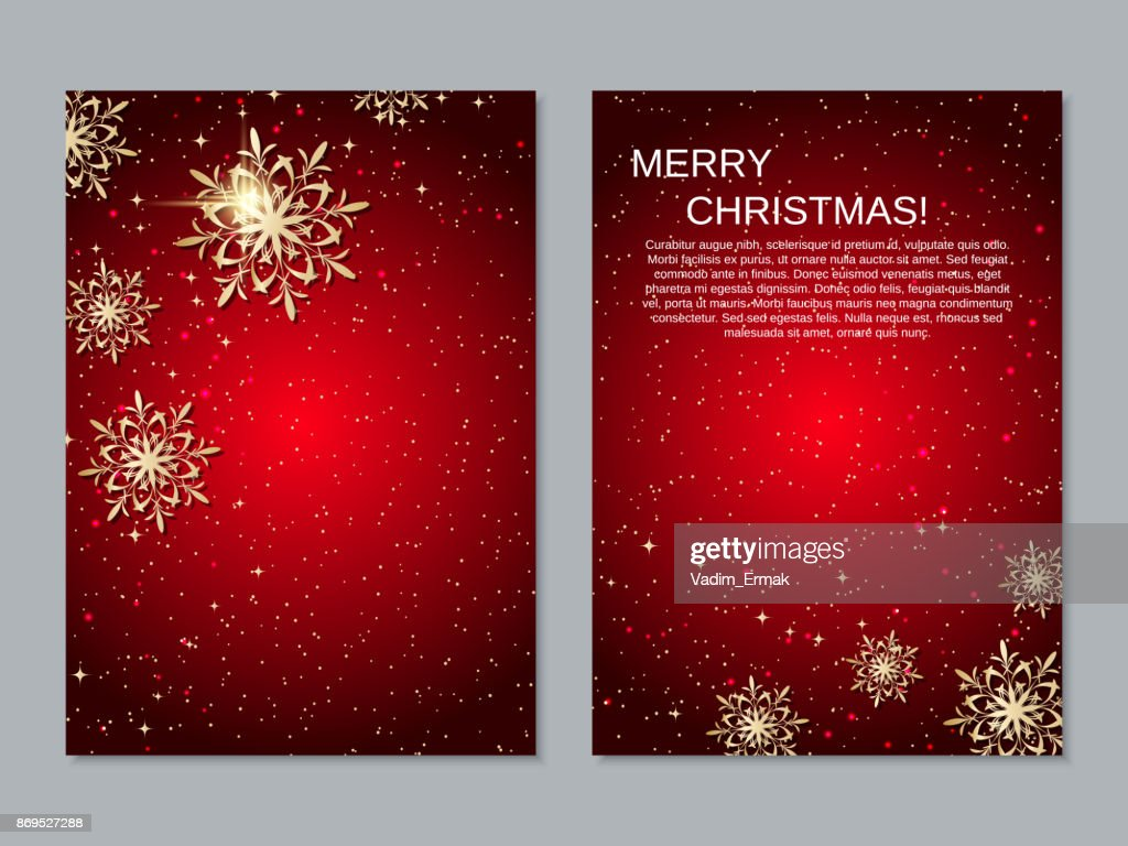 Christmas and New Year two-sided flyer vector template