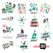 Christmas and New Year vintage style badges and stickers