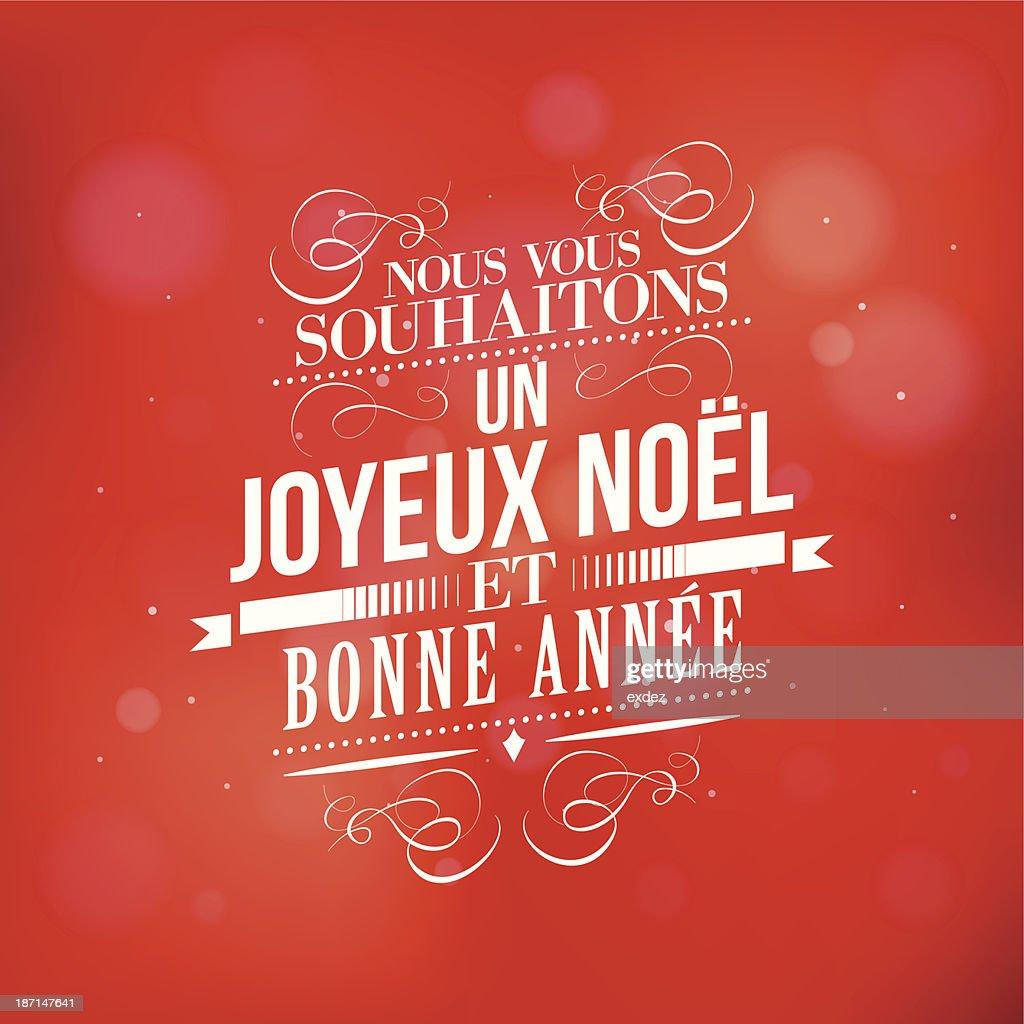Weihnachten Und Neues Jahr Wünschen In Französisch Vektorgrafik ...